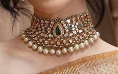 Kundan Jewellery Set, Indian Jewelry Sets, Indian Wedding Jewelry, Bridal Jewelry Sets, Real Diamond Necklace, Diamond Necklaces, Emerald Jewelry, Gold Jewelry, Jewelery