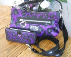 NWT Coach Daisy Poppy Purple/Black/Silver Ocelot Crossbody Purse 20024 + Wallet