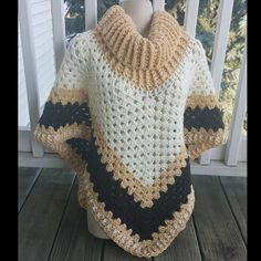 Hot Off My Hook! Project: Cowl Neck Poncho Started: 21 Dec 2015 Completed: 23 Dec 2015 Model: Madge the Mannequin Crochet Hook(s): Cowl portion, K, Granny Stitch portion Yarn: Crafter's Secret Color(s): Dark Ivory, Magnolia Way, Warsaw Pattern Source: Crochet Patterns Free Women, Crochet Poncho Patterns, Crochet Shawls And Wraps, Knitted Poncho, Crochet Scarves, Crochet Stitches, Crochet Hooks, Knit Crochet, Crochet Skirt Outfit