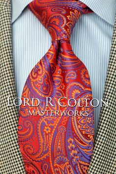 Lord R Colton Masterworks Tie - Red Paisley Barcelona Silk Necktie - $195 New #LordRColton #NeckTie