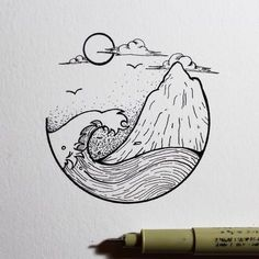 Best Inspiration Art Drawing – My Life Spot Doodle Art, Drawing Sketches, Drawing Ideas, Drawing Art, Ocean Drawing, Beach Drawing, Easy Nature Drawings, Tumblr Sketches, Art Drawings Sketches Simple