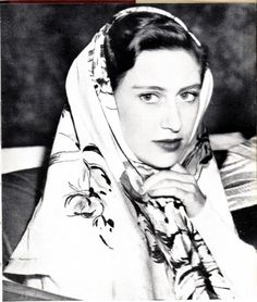 British Royalty:  The Princess Margaret. Classic example of a scarf adding a touch of mystery.