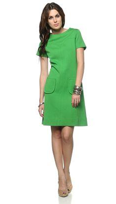 Mod Pocket Dress 1960s Mini Spring Green Shift 60s Short Sleeve Twiggy A Line Sixties Yoke Gogo Simple 1960 MiniDress Medium Large M L. $54.00, via Etsy.