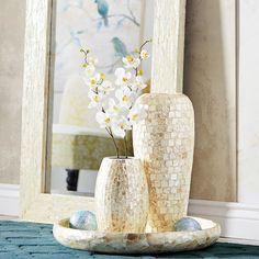 "Capiz Shell Vase - Small. 7.15""Dia x 12.65""H"