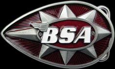 Red /& White BSA Classic Motorcycles /'Teardrop/' Belt Buckle