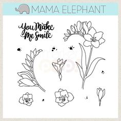 MAMA ELEPHANT: Freesia x Clear Photopolymer Stamp Set) Set includes Floral Series: Freesia:one sentiment and twelve image stamps. Freesia Flowers, Mama Elephant Stamps, Image Stamp, 12 Image, Elephant Design, Flower Doodles, Ink Art, Clear Stamps, Designs To Draw