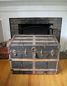 1800's Flat Top Steamer Trunk Foot Locker by RustyNailDesign, $229.00