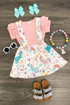 Over the Rainbow Unicorn Suspender Skirt Set - BLUSH PINK