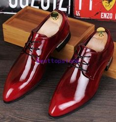 Mens Shiny Leather Pointy Toe Dress Formal Business Wedding Shoes Lace Up  hot Men s Wedding Shoes d2fd6fae5377