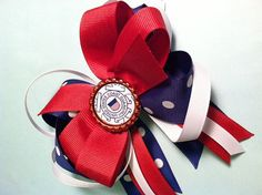 Coast Guard Stacked Boutique Bow by GracieJDesignsEtsy on Etsy, $8.25