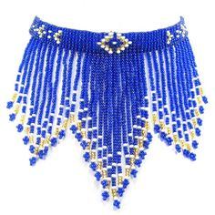 """Eagle Spirit Native American Store - """"Royal Beaded Fringe Choker"""" Do a Cross in middle, see other pic in graphs then a wolf print on both sides Native American Store, Native American Beading, Native American Fashion, Beaded Necklace Patterns, Beaded Choker Necklace, Seed Bead Necklace, Seed Beads, Bead Loom Patterns, Fringes"""