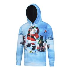 3D Christmas Santa Cartoon Animals Printing Hoodie Mens Fashion Casual Pullover Hoodies