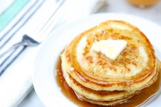 Delicious every time! You'll love these easy, light, fluffy homemade pancakes! Made with ingredients you already have in your pantry. Homemade Crumpets, Homemade Pancakes Fluffy, Fluffy Pancakes, Homemade Waffles, Breakfast Dishes, Breakfast Recipes, Breakfast Pancakes, Breakfast Ideas, Dog Bread