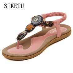 e9d6835a58d158 SIKETU Summer fashion women soft sandals beaded casual comfortable flat sandals  Bohemia large size beach sandals