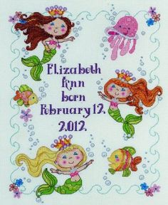 Amazon.com: Bucilla Baby 45719 Counted Cross Stitch Birth Record Kit, Mermaid Bay: Arts, Crafts & Sewing