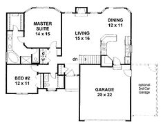 Floor Plans AFLFPW00242 - 1 Story Traditional Home with 2 Bedrooms, 2 Bathrooms and 1,273 total Square Feet