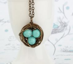 Turquoise Bird Nest Necklace Wire Wrapped With by JacarandaDesigns