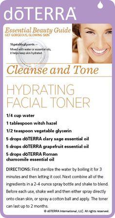 Recipe for a hydrating facial toner made with dōTERRA essential oils.  mydoterra.com/gaildempsey #doterraleadership