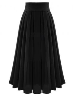 Fvogue Super Fairy Pure Color Graceful High Waist Long Pleated Skirt