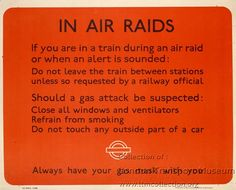 In air raids, by unknown artist, 1941  Published by London Transport, 1941 Printed by Waterlow & Sons Ltd, 1941 Format: Panel poster Dimensions: Width: 318mm, Height: 254mm Reference number: 2006/2869