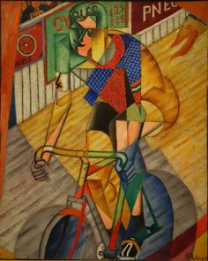 "Jean Metzinger (French, 1883-1956) - ""Cycliste au vélodrome d'hiver"" (Cyclist at the winter velodrome), 1913-14"