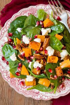 You may not think of adding butternut squash to your salad but it really just works, especially when you add it to a spinach salad along with toasted pecans, pomegranate arils, and tangy goat cheese. Then you coat all of that with a honey shallot red wine vinaigrette and incredible things just happen! I'm telling you