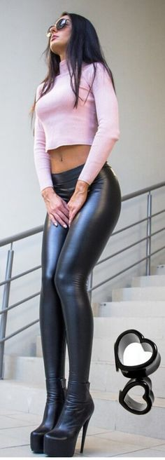 fbe250ba40 More lovely ladies squeezed into snug, tight leather pants and shiny leather-look  leggings: .