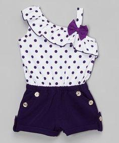 Look what I found on #zulily! Purple & White Polka Dot Romper - Toddler & Girls #zulilyfinds