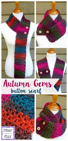 Autumn Gems Button Scarf, free crochet pattern + full video tutorial on Fiber Flux!