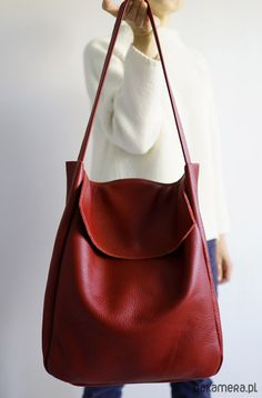 · A large bag on shoulder and hand. Made of strong thick deep red leather. Inside without lining with one pocket, 18 cm x Dimensions: height: 35 cm, width 30 cm, depth 11 cm… Luxury Handbags, Fashion Handbags, Purses And Handbags, Fashion Bags, Leather Handbags, Cheap Handbags, Leather Purses, Leather Bags, Leather Shoulder Bags
