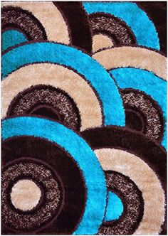 Royal Collection Turquoise Blue Brown Abstract Contemporary Design Gy Area Rug 6056 4