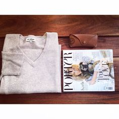 Soft Goat V-neck Poncho in beige, Porter Magazine and Ray-Ban's