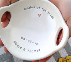 Unique Mother of the Bride Gift,  Two Handled, Keepsake Bowl, Wedding Parent Thank You Gift for Mother, Gift Boxed Ready to Give by ClareyClayworks on Etsy
