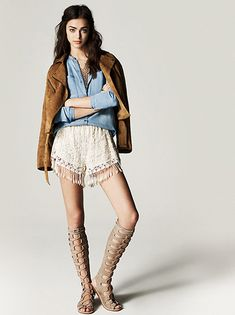 Spring / Summer - street chic style - festival style - boho chic style - chambray shirt + white lace fringe shorts + brown suede jacket + nude suede gladiator sandals