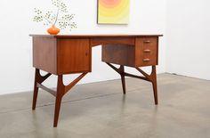 1950s Danish Modern TEAK Writing Desk Mid Century Kagan Pearsall Era #DanishModern