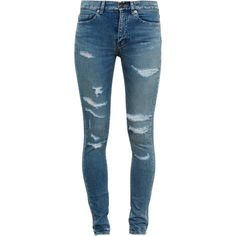 SAINT LAURENT Distressed Jeans (39,075 DOP) ❤ liked on Polyvore featuring jeans, pants, bottoms, calças, mid rise skinny jeans, destructed skinny jeans, destroyed denim jeans, slim skinny jeans e light wash destroyed skinny jeans