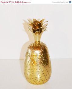 ON SALE Vintage Brass Pineapple Hollywood Regency by JudysJunktion, $54.00