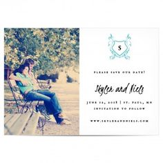 Rustic Crest Monogram Photo Save the Date Magnet found at Taste Buds on the Avenue