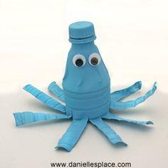Recycle Water Bottle Octopus Craft DIY www.daniellesplace.com