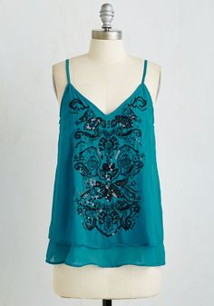 Central Park Star Top. In an action-packed park, you stand out in this teal tank top! #blue #modcloth