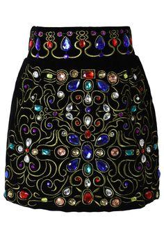 Baroque Crystal Embellished Velvet Skirt in Black