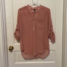 Blush chiffon top High-quality chiffon NWOT 3/4 length sleeve top! I got this as a gift but it's not really my style! Perfect condition! Great length to wear with leggings! Maurices Tops Blouses