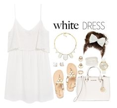 White Dress by justice-ellis on Polyvore featuring moda, MANGO, MICHAEL Michael Kors, House of Harlow 1960, R.J. Graziano, Nixon, Forever 21, Decree and Kate Spade