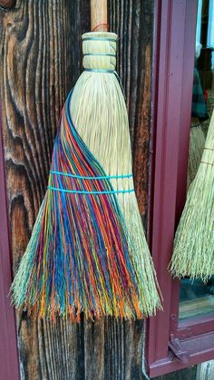 Rainbow witch broom. Brooms are simple and yet an elegant way of clearing your sacred space and help to move any negative energy.