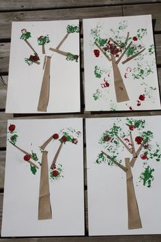 Apple trees - aluminum foil painting...