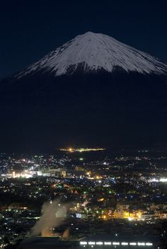 Night view of Fujinomiya and Mt. Fuji, Japan