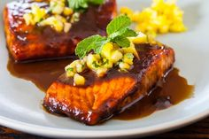 Pineapple Salmon Teriyaki Recipe (pineapple + ginger + garlic + soy sauce + brown sugar + sesame oil)