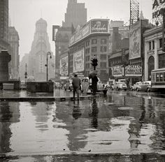 Times Square in the Rain, New York City, 1943, photo by John Vachon