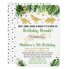Shop Dinosaur Drive By Baby Shower Parade Invitation created by LittlePrintsParties. Dinosaur Birthday Invitations, Birthday Invitation Templates, Custom Invitations, Baby Shower Invitations, Invitation Cards, Invites, 18th Birthday Cards, Boy Birthday, Dinosaur Party
