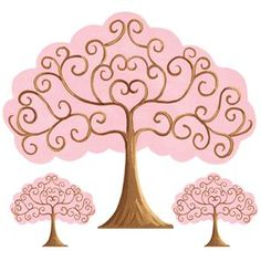 Pink and brown tree wall art.